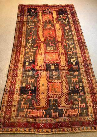 PERSIAN ANTIQUE HERIZ SERAPI RUNNER – 4.8 x 9.5 - 80+ YRS OL