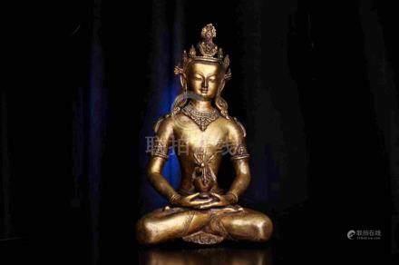 TIBETAN BUDDHIST GILT BRONZE BUDDHA STATUTE AMITAYUS