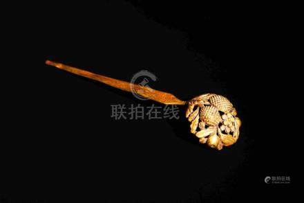 PURE GOLD CARVED HAIR PIN