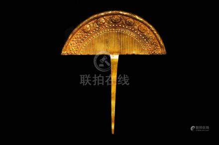 PURE GOLD HAIR PIN CARVED WITH COMB GRAIN