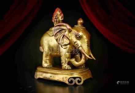 LARGE SEIZE GILDED BRONZE ELEPHANT