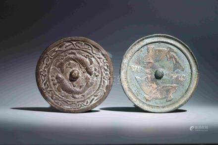 TWO BRONZE MIRRORS WITH DOUBLE FISH PATTERN