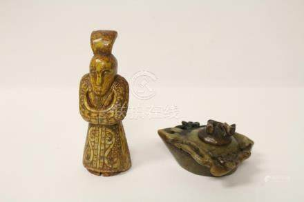 Jade figure and a jade carved box