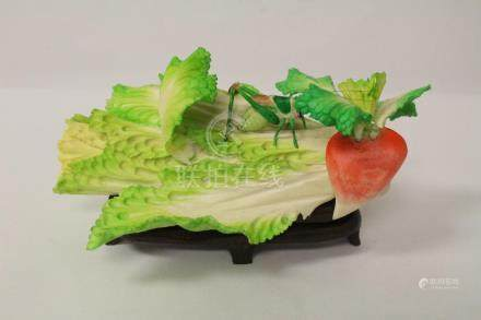 An interesting painted bone carved cabbage