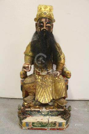 Antique painted wood Dsoism deity
