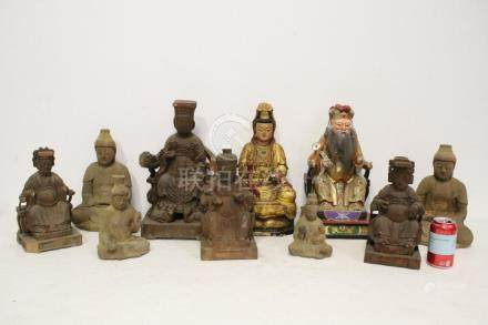 10 Chinese wood carved Daoism deities