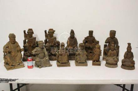 12 Chinese wood carved Daoism deities