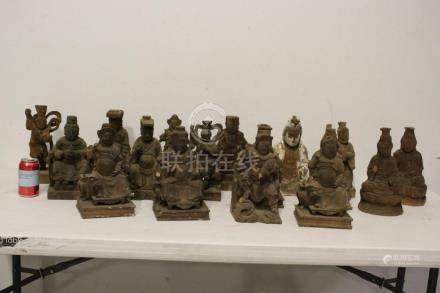 17 Chinese wood carved Daoism deities