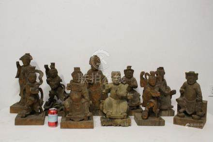 10 large Chinese wood carved Daoism deities
