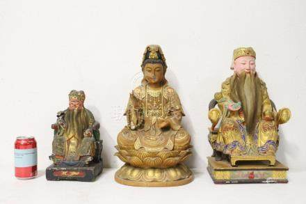 3 Chinese polychrome wood carvings