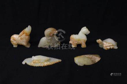 6 Chinese celadon jade carved ornaments