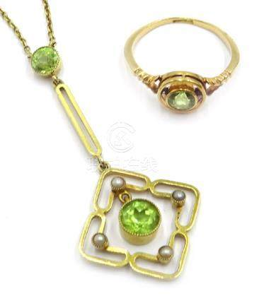 Edwardian peridot and seed pearl pendant necklace