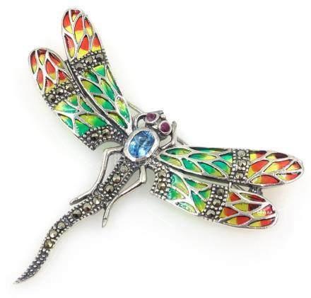 Plique-a-jour, marcasite and stone set dragonfly