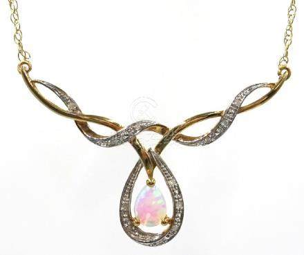 9ct gold opal and diamond necklace, stamped 375