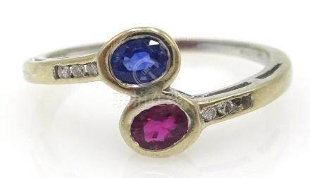18ct white gold sapphire, ruby and diamond ring