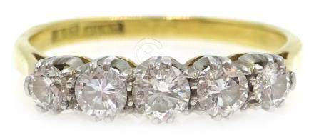 Five stone diamond ring stamped 18ct plat