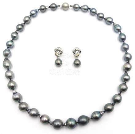 Tahitian black pearl necklace on 18ct white gold clasp