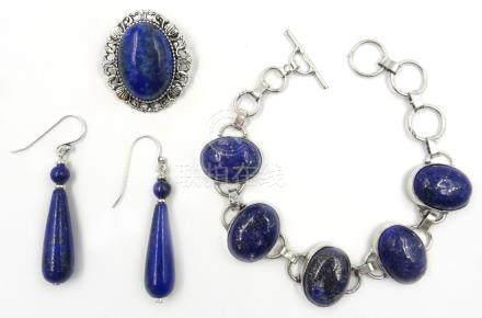 Silver lapis lazuli stamped 925, similar pair of