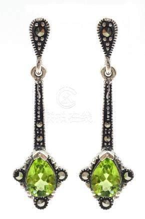 Pair of silver peridot and marcasite pendant ear-rings,