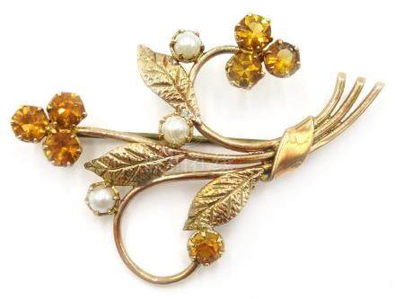 9ct gold floral bouquet brooch set with citrine and