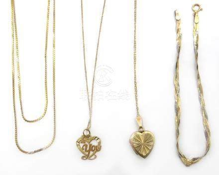 Gold necklace with locket, gold pendant necklace, gold