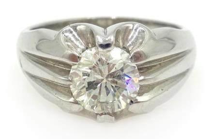 Gentleman's 18ct white gold diamond ring hallmarked