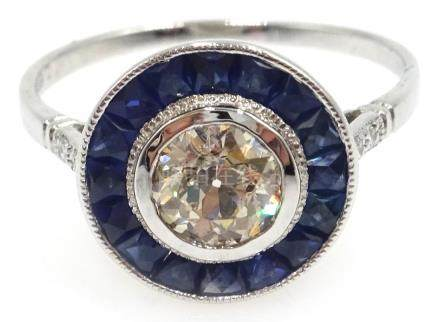 18ct white gold (tested) Art Deco style sapphire and