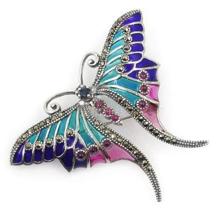 Plique-a-jour, marcasite and stone set butterfly