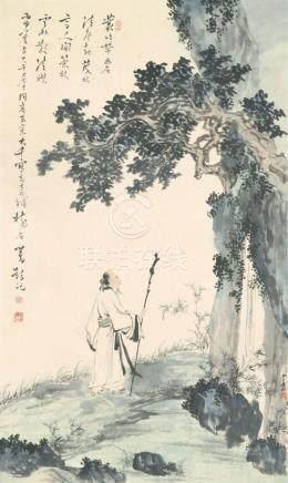 张大千、溥心畬东京合绘-丹林隐士图