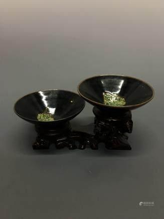 Chinese Jizhou Ware Pair 'Leaf' Bowls