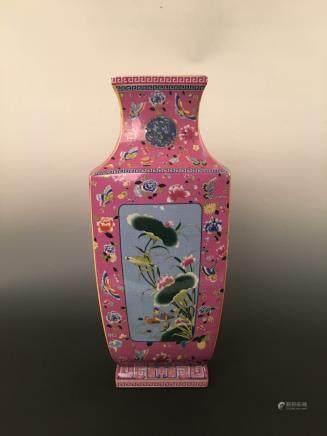 Famille-Rose Lotus Vase with Yongzheng Mark