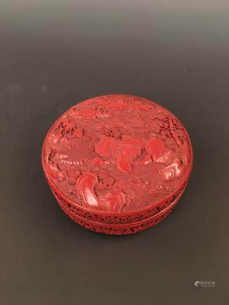 Cinnabar Round Box with Landscape on the top, Qianlong Mark