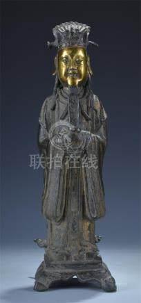 Rare partial gilt bronze standing official figure; Ming