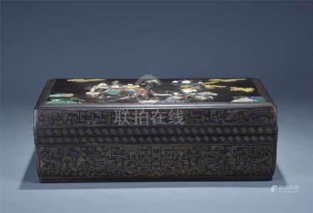 A gold silver inlay jade zitan box; 19/20th C.