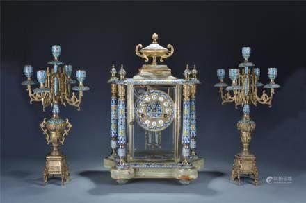 Set of 3 gilt bronze/enamelled cloisonne clock