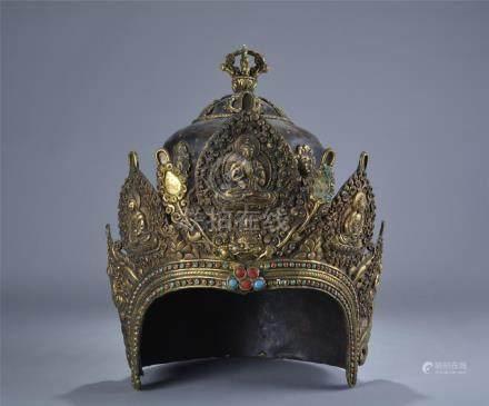 Rare gilt bronze gem stone inlay helmet; Qing dynasty