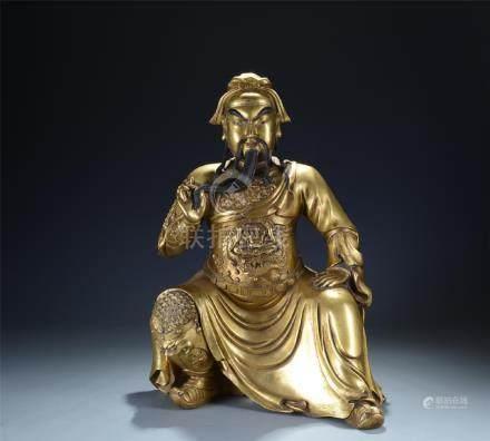 An old gilt bronze figure of Sage; Guangong