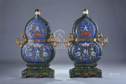 Pair spinach jade mounted gem stone inlay lapis lazuli