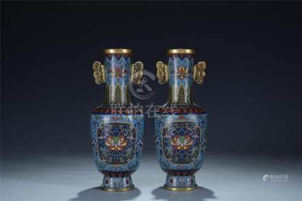 Pair enamelled cloisonne vases; Qianlong mark