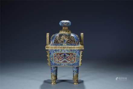 An old enamelled cloisonne tripod censer; Qianlong mark
