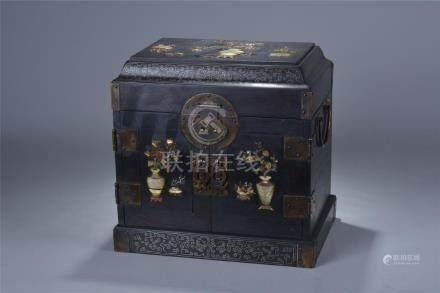 A 19/20th C. gem stone inlay zitan storage box