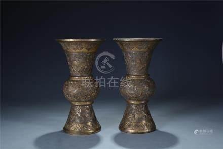 Pair engraved gilt bronze cranes vases; Republic period