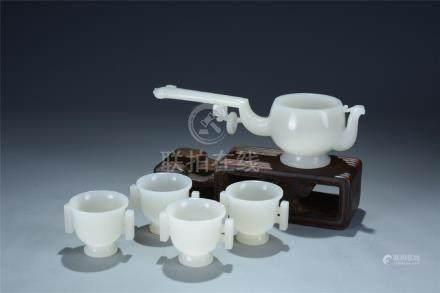 Unusual set of 5 white jade carved wine set