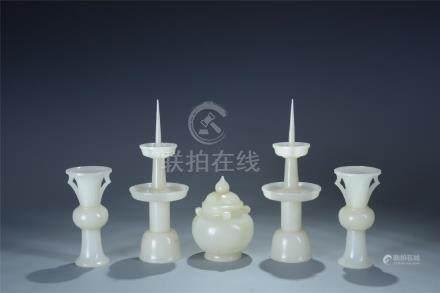 Set of 5 white jade carved candlesticks vase censer