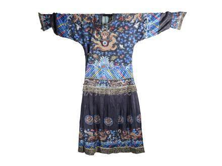 Qing dynasty blue ground silk gauze dragon robe