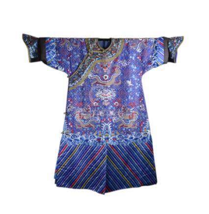 Qing dynasty blue ground silk dragon robe
