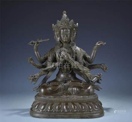 Qing dynasty bronze figure of Buddhist deity