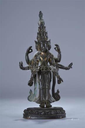 18/19th C. gilt bronze figure of Guanyin