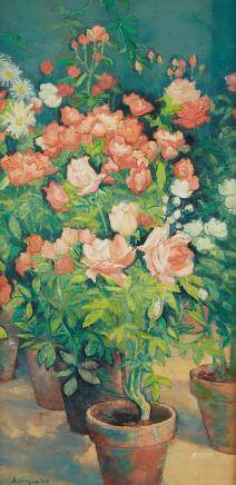 Andre Vignoles Roses Oil on Canvas