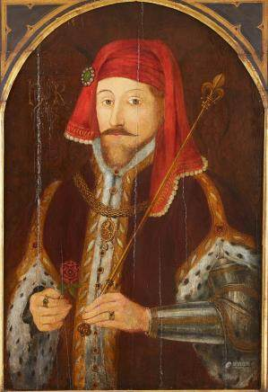 17th century English School Portrait Painting of Henry IV Oil on Panel